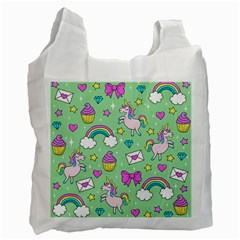 Cute Unicorn Pattern Recycle Bag (one Side) by Valentinaart