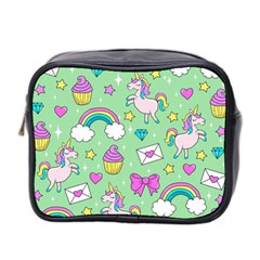 Cute Unicorn Pattern Mini Toiletries Bag 2 Side by Valentinaart