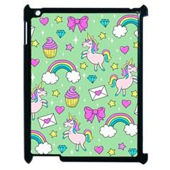 Cute Unicorn Pattern Apple Ipad 2 Case (black) by Valentinaart