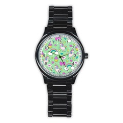 Cute Unicorn Pattern Stainless Steel Round Watch by Valentinaart