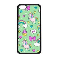 Cute Unicorn Pattern Apple Iphone 5c Seamless Case (black) by Valentinaart
