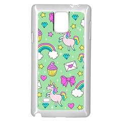 Cute Unicorn Pattern Samsung Galaxy Note 4 Case (white) by Valentinaart
