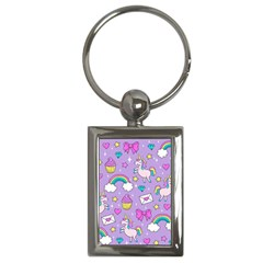 Cute Unicorn Pattern Key Chains (rectangle)  by Valentinaart