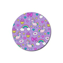 Cute Unicorn Pattern Rubber Round Coaster (4 Pack)  by Valentinaart
