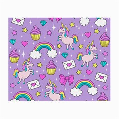Cute Unicorn Pattern Small Glasses Cloth (2 Side) by Valentinaart