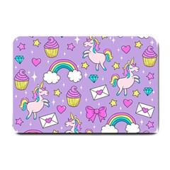 Cute Unicorn Pattern Small Doormat  by Valentinaart