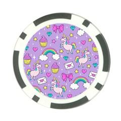 Cute Unicorn Pattern Poker Chip Card Guard (10 Pack) by Valentinaart