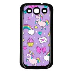 Cute Unicorn Pattern Samsung Galaxy S3 Back Case (black) by Valentinaart