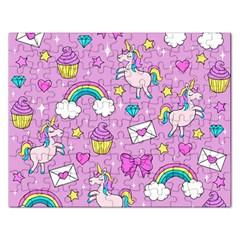 Cute Unicorn Pattern Rectangular Jigsaw Puzzl by Valentinaart