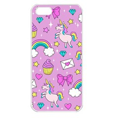 Cute Unicorn Pattern Apple Iphone 5 Seamless Case (white) by Valentinaart