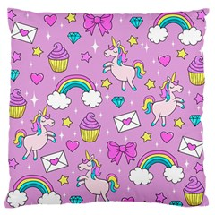 Cute Unicorn Pattern Large Flano Cushion Case (two Sides) by Valentinaart