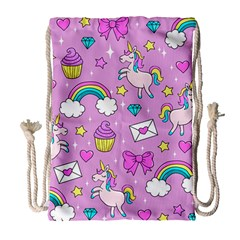 Cute Unicorn Pattern Drawstring Bag (large) by Valentinaart
