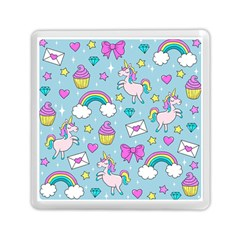 Cute Unicorn Pattern Memory Card Reader (square)  by Valentinaart