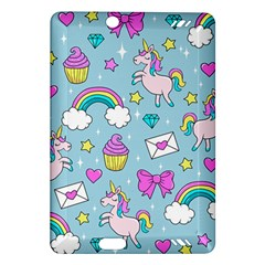 Cute Unicorn Pattern Amazon Kindle Fire Hd (2013) Hardshell Case by Valentinaart