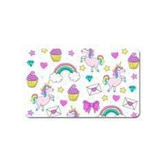 Cute Unicorn Pattern Magnet (name Card) by Valentinaart