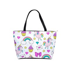 Cute Unicorn Pattern Shoulder Handbags by Valentinaart