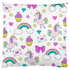Cute Unicorn Pattern Large Cushion Case (two Sides) by Valentinaart