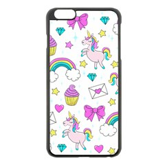 Cute Unicorn Pattern Apple Iphone 6 Plus/6s Plus Black Enamel Case by Valentinaart