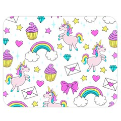 Cute Unicorn Pattern Double Sided Flano Blanket (medium)  by Valentinaart