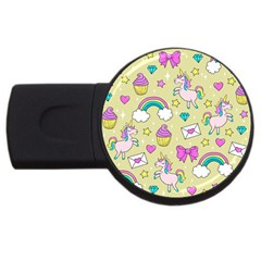 Cute Unicorn Pattern Usb Flash Drive Round (4 Gb) by Valentinaart