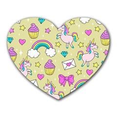 Cute Unicorn Pattern Heart Mousepads by Valentinaart