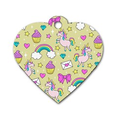 Cute Unicorn Pattern Dog Tag Heart (one Side) by Valentinaart