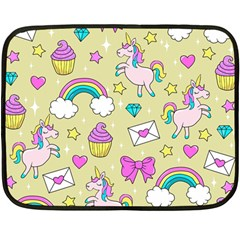 Cute Unicorn Pattern Fleece Blanket (mini) by Valentinaart
