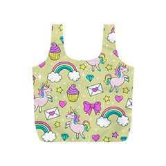 Cute Unicorn Pattern Full Print Recycle Bags (s)  by Valentinaart