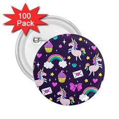 Cute Unicorn Pattern 2 25  Buttons (100 Pack)