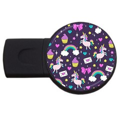 Cute Unicorn Pattern Usb Flash Drive Round (2 Gb) by Valentinaart