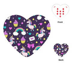 Cute Unicorn Pattern Playing Cards (heart)  by Valentinaart