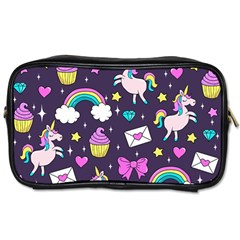Cute Unicorn Pattern Toiletries Bags 2 Side by Valentinaart