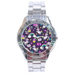 Cute Unicorn Pattern Stainless Steel Analogue Watch by Valentinaart