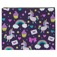 Cute Unicorn Pattern Cosmetic Bag (xxxl)  by Valentinaart