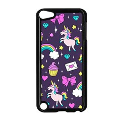 Cute Unicorn Pattern Apple Ipod Touch 5 Case (black) by Valentinaart