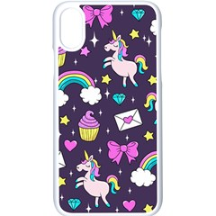 Cute Unicorn Pattern Apple Iphone X Seamless Case (white) by Valentinaart