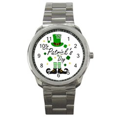 St Patricks Leprechaun Sport Metal Watch by Valentinaart