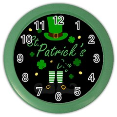 St Patricks Leprechaun Color Wall Clocks by Valentinaart