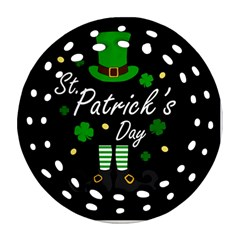 St Patricks Leprechaun Round Filigree Ornament (two Sides)