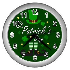 St Patricks Leprechaun Wall Clocks (silver)  by Valentinaart