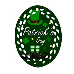 St Patricks Leprechaun Ornament (oval Filigree) by Valentinaart