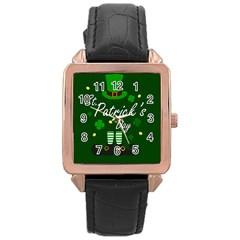 St Patricks Leprechaun Rose Gold Leather Watch  by Valentinaart