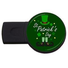 St Patricks Leprechaun Usb Flash Drive Round (4 Gb) by Valentinaart
