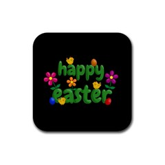 Happy Easter Rubber Square Coaster (4 Pack)  by Valentinaart