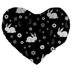 Easter Bunny  Large 19  Premium Heart Shape Cushions by Valentinaart