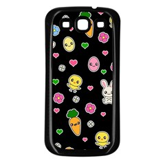 Easter Kawaii Pattern Samsung Galaxy S3 Back Case (black)