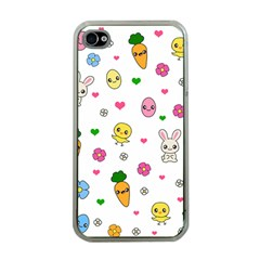 Easter Kawaii Pattern Apple Iphone 4 Case (clear) by Valentinaart