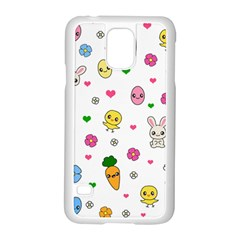 Easter Kawaii Pattern Samsung Galaxy S5 Case (white) by Valentinaart