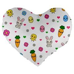 Easter Kawaii Pattern Large 19  Premium Flano Heart Shape Cushions by Valentinaart
