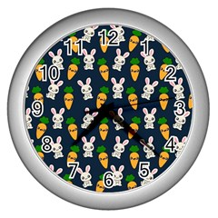 Easter Kawaii Pattern Wall Clocks (silver)  by Valentinaart